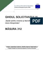 Ghidul solicitantului pentru masura 312