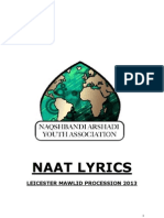 NAAT LYRICS LEICESTER MAWLID PROCESSION 2013