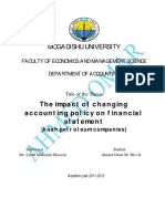 The Impact of Changing Accounting Policy on Financial Statement