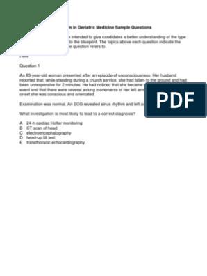 Sce Geriatric Medicine Sample Qs | Dementia | Diabetes