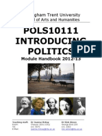 POLS10111 Introducing Politics Module Handbook Oct 2012