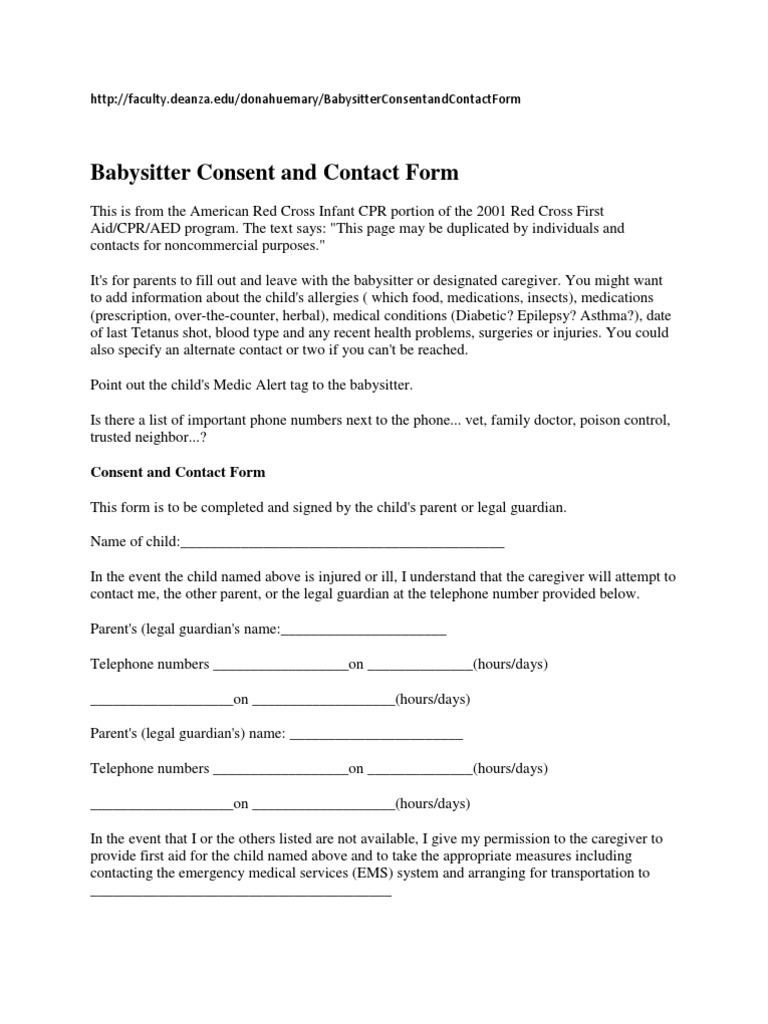 Babysitter Consent And Contact Form Caregiver Babysitting