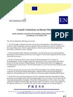 EU Conclusion on Myanmar - Oct 2007