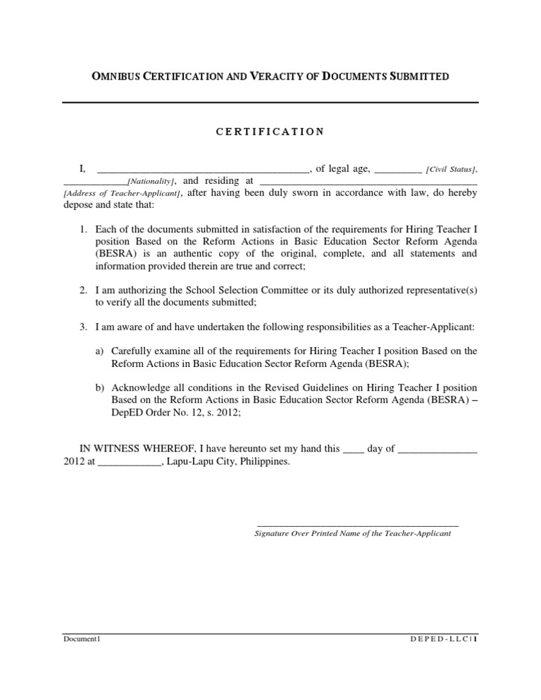 Omnibus certification of authenticity and veracity of all omnibus certification of authenticity and veracity of all documents submitted yelopaper Image collections
