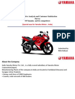 Project on competative analysis and customer satisfaction of yamaha