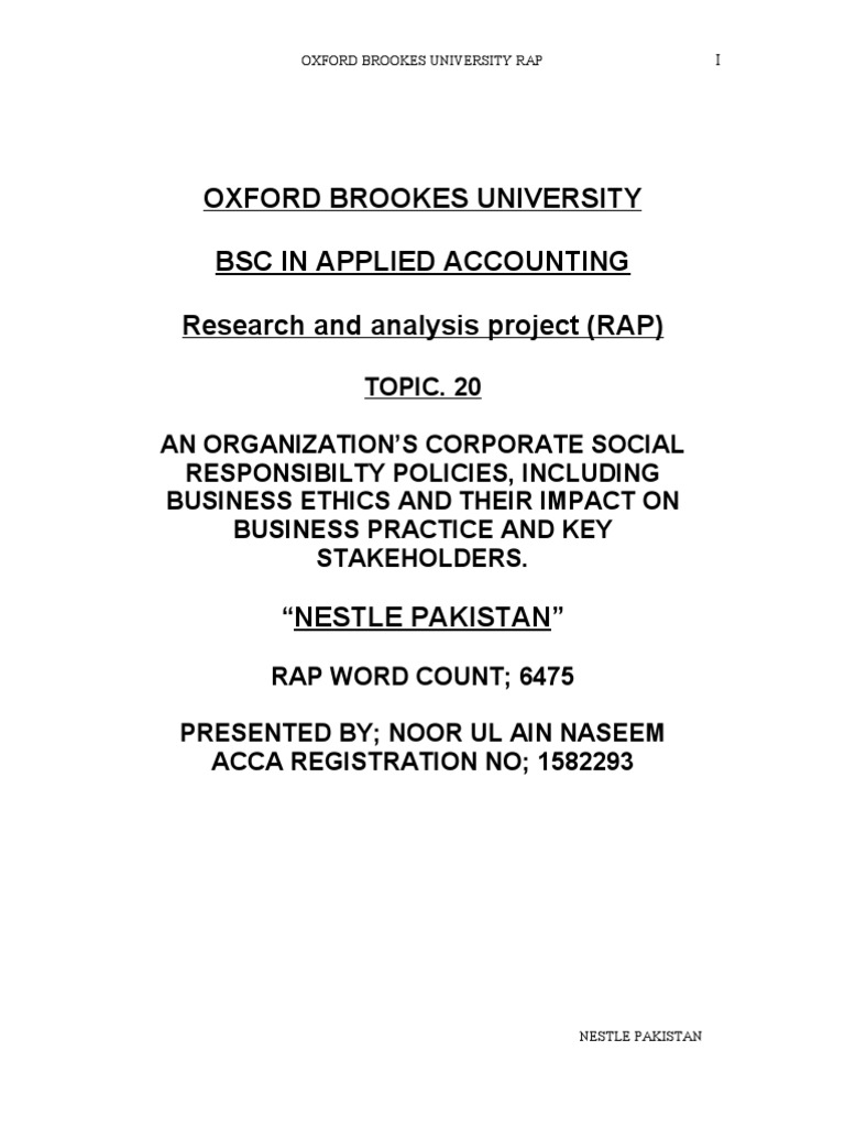oxford brookes bsc hons in applied accounting thesis sample