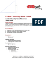 CADsoft Consulting Course Outline - Quantity Takeoff Essentials