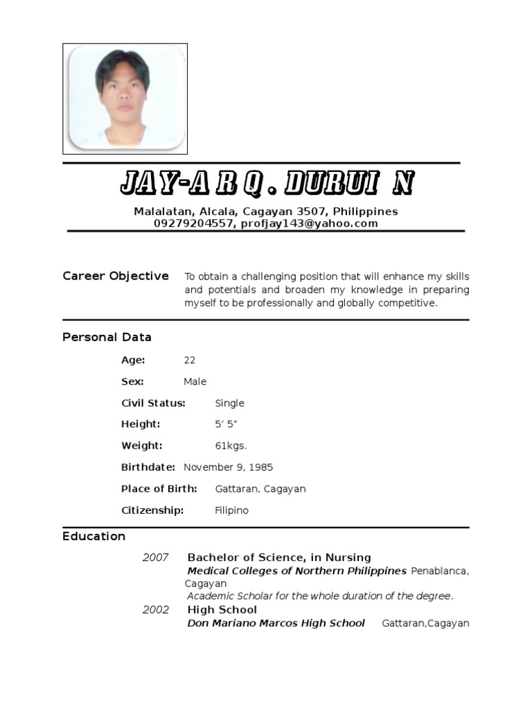 Resume Example Of Resume In Philippines resume nurse