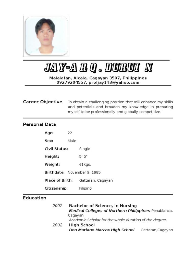 Resume Nurse   Sample Resume Nursing  Example Of A Resume For A Job Application
