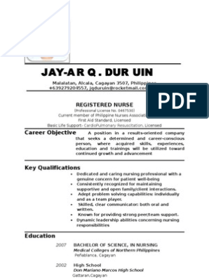 Resume Updated Abroad Nursing Hospital