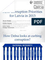 Anti-Corruption Priorities of Latvia in 2013
