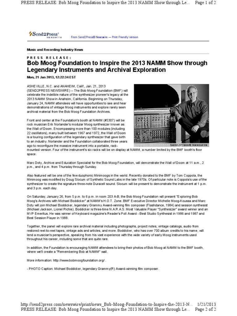 Bob Moog Foundation to Inspire the 2013 NAMM Show through Legendary ...