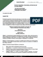 Reglamento de Establecimientos Industriales, Comerciales y de Servicios del Municipio de Naucalpan de Juárez, México.