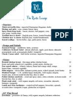 The Rustic Lounge at Cedar Glen Lodge - 2013 Menu