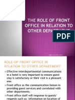 THE ROLE OF FRONT OFFICE IN RELATION TO OTHER DEPARTMENT