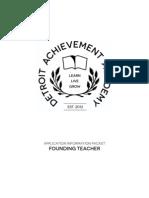 Detroit Achievement Academy Founding Teacher Position Information Packet
