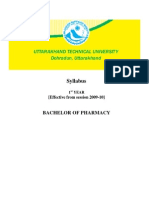 Uttaranchal Tech University B Pharm Syllabus