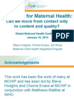 Indicators for Maternal Health