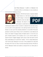 Proposal on Shakespeare