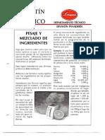 Levapan Boletin Tecnico 011 - Pesaje y Mezclado de Ingredientes