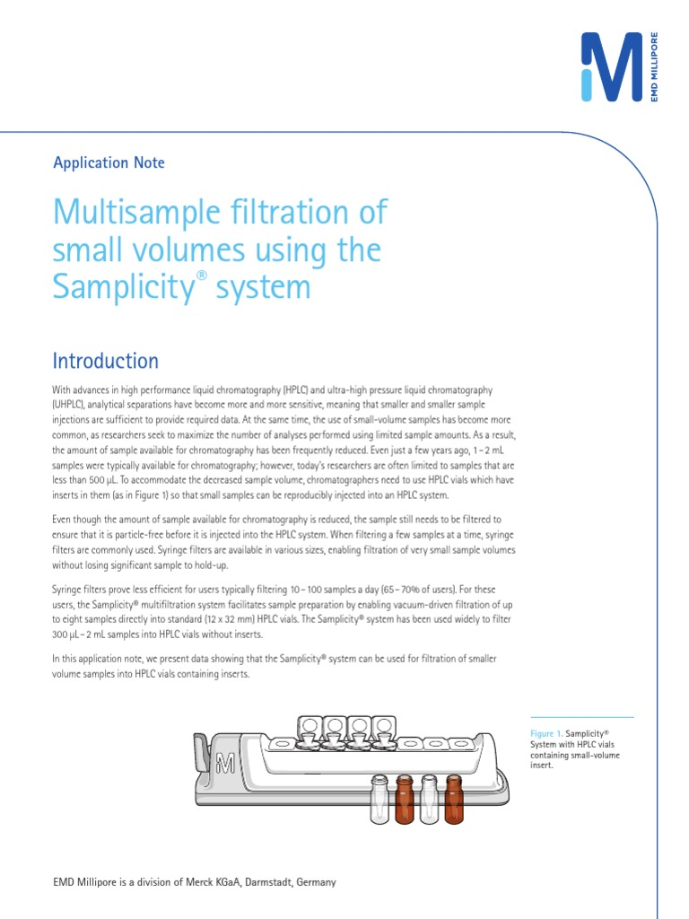 Multisample filtration of small volumes using the Samplicity