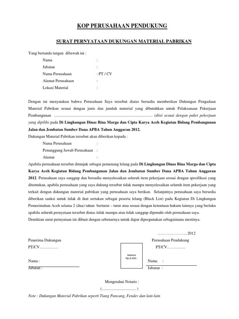 Surat Dukungan Pabrikan Material