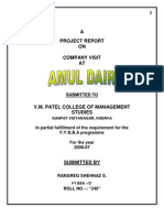 project report on amul dairy