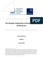 The Strategic Implications of Russia's Eastern Oil Resources