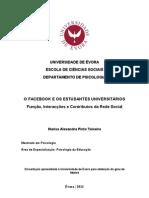 O Facebook e os Estudantes Universitários - Função, Interacções e Contributos da Rede Social