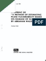 A Method of Estimating Plane vulnerability Based on Damage of Survivors