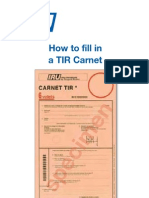 How to fill in a TIR Carnet