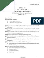 MBA PU Exam paper