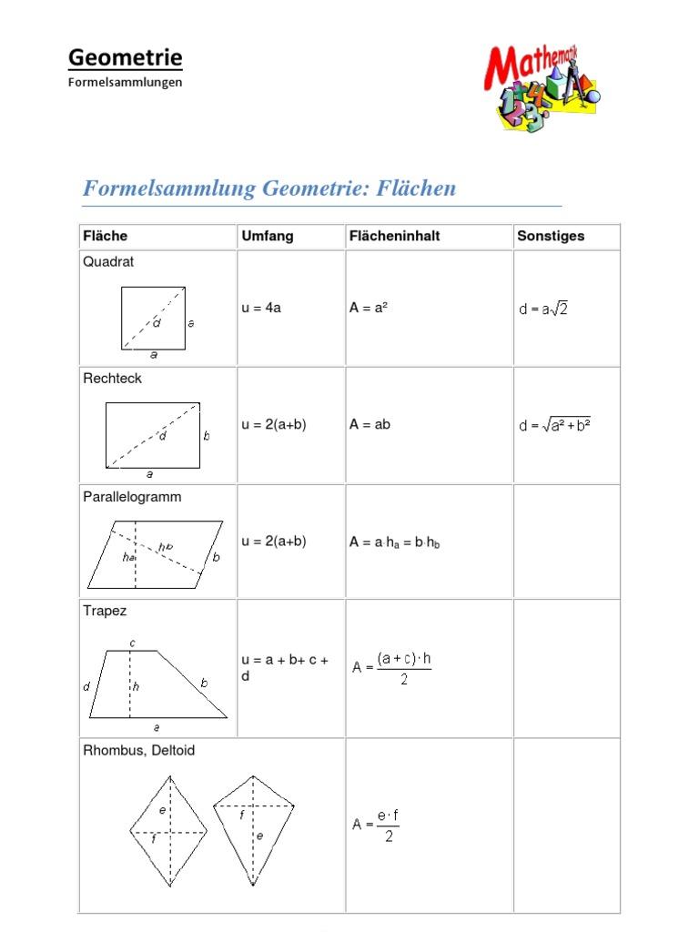 Mathe (Geometrie) Formelsammlung