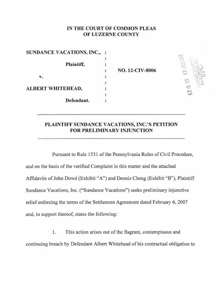 Petition For Preliminary Injunction