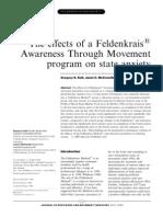 The e€ects of a Feldenkrais1 Awareness Through Movement program on state anxiety