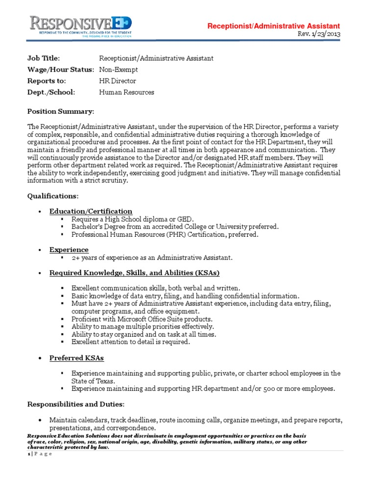 HR Receptionist Administrative Assistant Jan 2013 | Human