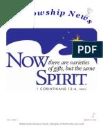 January 21, 2013 Fellowship News