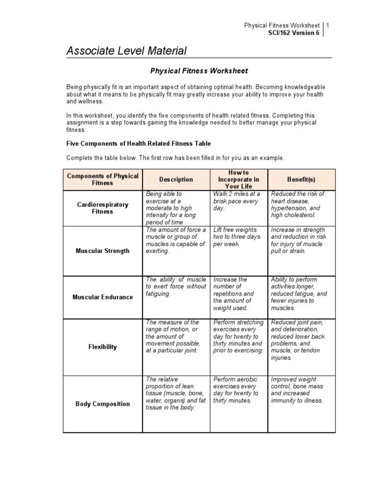 Physical Fitness Worksheet Physical Fitness – Wellness Worksheet