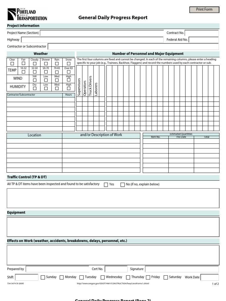 General Daily Progress Report Format – Format of a Progress Report