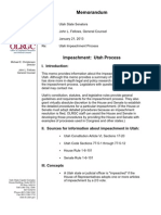 Memo to Utah state senators from general counsel about impeachment process