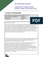 Motivation letter for SI Study Scholarship (2012-2013