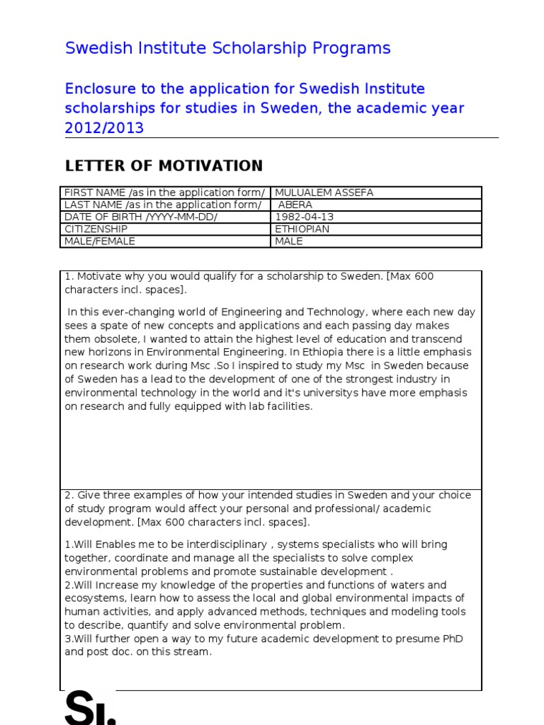 Motivation letter for si study scholarship 2012 2013 motivation letter for si study scholarship 2012 2013 environmental issues environmental engineering spiritdancerdesigns Gallery