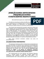 -Àbendua- JUBILACIONES ANTICIPADAS, PREJUBILACIONES, COEFICIENTES REDUCTORES.