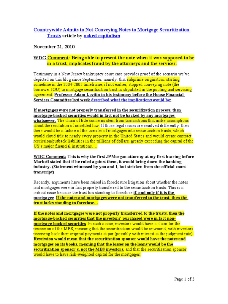 Countrywide admits to not conveying notes to mortgage countrywide admits to not conveying notes to mortgage securitization trusts securitization mortgage backed security platinumwayz