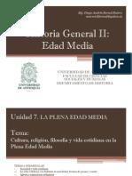 Unidad 7 La Plena Edad Media Cultura, Filosofía y vida cotidiana