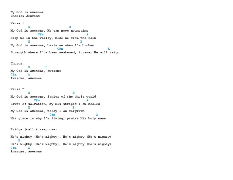 My God is Awesome Chords