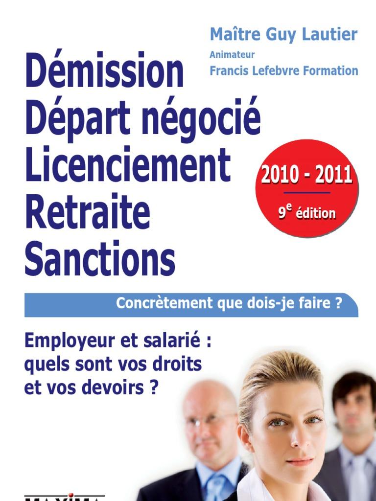 Demission Depart Negocie Licenciement Retraite Sanctions