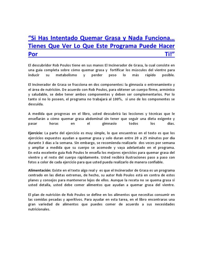 incinerador de grasa pdf de rob poulos para