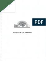 Brantford estimates committee - budget worksheet, Jan. 24, 2013