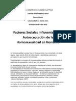 Factores Sociales Influyentes en La Autoaceptacion de La Homosexualidad en Hombres
